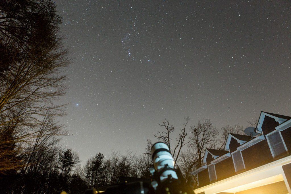 Looking south towards Orion.