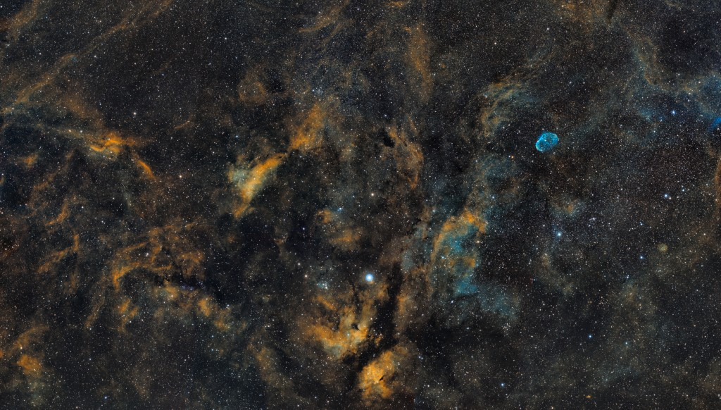 Cygnus Mosaic Cropped & Reduced to 50% Size. 9 Panels, 1x20min per Ha, O[III], S[II] Channel per panel. Total Time 9 hours. Taken with an Apogee U16M and Tak FSQ-106ED.