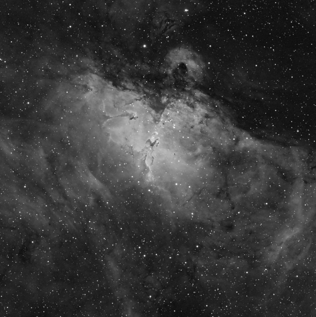 M16 - The Eagle Nebula Taken with a Stellarvue SVQ100, Apogee Ascent A694, Atlas EQ-G Mount, Baader 7nm Ha Filter.  Exposure time 8x20min.